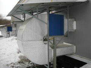 Наружный монтаж газового воздухонагревателя Eugen S